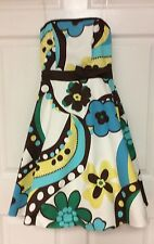 Womens dress size 5 to 6 strapless white brown blue yellow lined B. Darlin 101