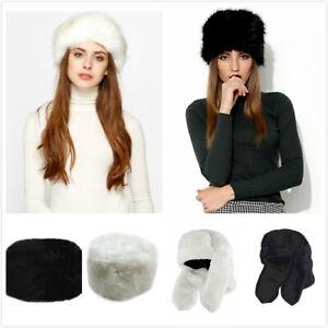 Womens Faux Fur Russian Hat Trapper Hat Fluffy Cossack Holiday Hat Ski Cap 56cm