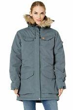 $1000 Fjall Raven Womens Blue Fuax Fur Trim Hooded Nuuk Parka Jacket Coat Size M
