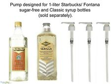 Starbucks 1 Liter Pump for Syrup Bottles  LOT OF THREE (3) White Authentic
