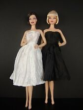 Set of 2 Beautiful Knee Length Dresses in Black & White For Barbie Doll