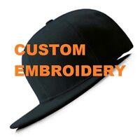 **CUSTOM** Personalised Embroidery Black FLAT Peak SNAPBACK Hat Embroidered Cap
