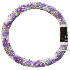"LILY and LAURA ""Purple Petals"" Hand Crochet Bead Stretch Bracelet Made in Nepal"