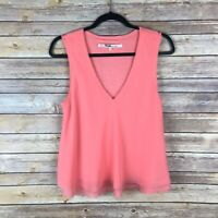 Rachel Rachel Roy Womens Blouse V Neck Top Woven Knit Tank Frayed Relaxed Size M