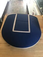 lace makers pillow with 2 removable blocks, navy blue cover with tape detail.