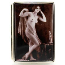 Large Sterling Silver Hallmarked 1920's Erotic Enamel Nude Lady Pill Snuff Box
