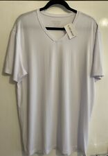 David Archy Micromodal Hombre Blanco Cuello en V camiseta Grande BNWT