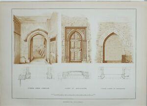 1886 LONDON GUILDHALL PRINT ~ DOORWAYS CORRIDOR COURT OF EXCHEQUER