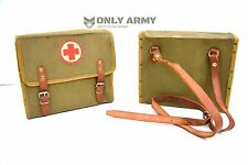 Vintage 1940's Military First Aid Satchel Canvas Bag With Leather Strap Army Box