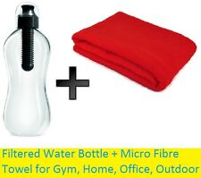 NUOVO torna in palestra Set bottiglia di acqua filtrata e i Micro Fibra Asciugamano SWEAT Igiene
