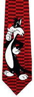 Looney Tunes Sylvester The Cat Men's Silk Neck Tie Licensed Cartoon Red Necktie