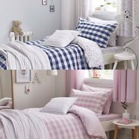 Childrens Blue or Pink Gingham Duvet Cover Set, Fitted Sheets, Cushion or Throw