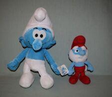 """Plush Smurfs Movie 2011 Nanco 13"""" Smurf & 2013 Jakks 8"""" Papa Smurf LOT OF 2"""