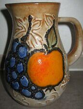 """Scheurich Keramik West Germany W.Germany 8"""" tall Ceramic Pitcher 419-20 Fruit"""