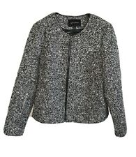 Banana Republic Moto Blazer Jacket Zip Up Polyester Wool Black White Size 10