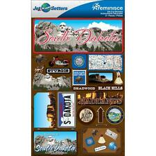 Scrapbooking Crafts Stickers 3D South Dakota License Plate Rushmore Sturgis Seal