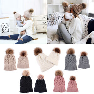 2PCS Monther Kids Parent-Child Warm Hat Knitted Family Match Beanie Ski