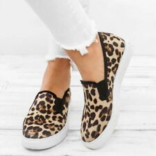 Women Casual Printed Canvas Pumps Leopard Flat Shoes Trainers Loafers Slip On