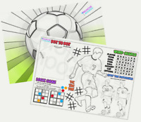 Pack of 12 - A4 Football Party Placemat Tabletop Activity Sheets - Bag Fillers