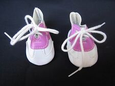 """Doll Shoes/Tennis White & Pink Lace-Up 3"""" Unbranded Fits 18"""" Doll Too Cute!"""
