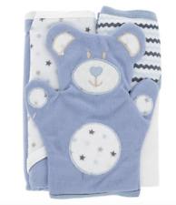 Lot of 2 Baby Hooded Bath Towels & Bear Mitt NIP Baby Boy Blue Zak & Zoey