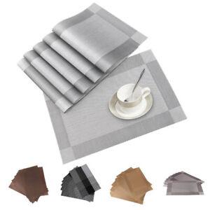 6 Set PVC Placemats Coasters Non-Slip Foldable Washable Dining Table Mats UK