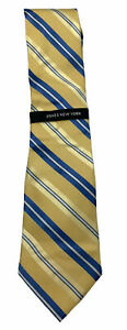 Jones New York Men's Silk Tie Yellow, Gold, Blue Stripes NWT E10