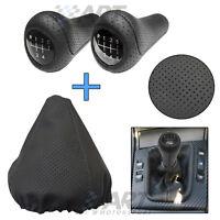 Pomo + funda de palanca para Bmw E46 Sedan realizados en cuero negro perforado