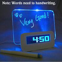 Creative Digital Calendar Fluorescent Message Board USB LED Light  Alarm Clock