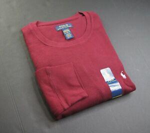 POLO RALPH LAUREN Men's Classic Wine Waffle-Knit Thermal Pajama Shirt NEW NWT
