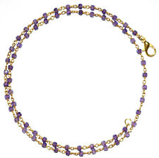 18 Inch Strand Blue Zircon 3 mm Gold Plated Wire Faceted Rosary Beads Neckalce 1