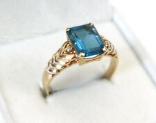 14K Yellow Gold ~3ct Deep Blue Topaz Emerald Cut Diamond Accent Ring Size 11