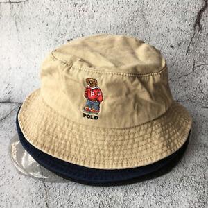Vintage Rare Polo RL Sport Teddy Hoody Bear  Bucket Cap Cotton Hat