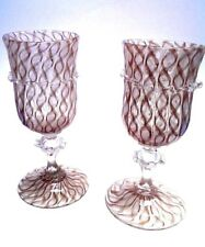 A Pair of Antique Murano Venetian Aventurine Art Glass Goblets by Salviati