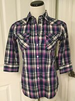 NWT Ag Adriano Goldschmied Womens X-Small Plaid 3/4 Sleeve Slim Pearl Snap Shirt