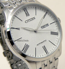CITIZEN MEN AUTOMATIC STAINLESS STEEL DAY DATE 50m NH8350-59A