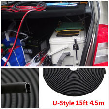 15ft 4.5m Black Trim Rubber Strip Car Door Edge Seal Weather-strip Steel Insert