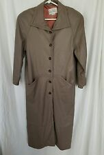 Vintage Ruth Wagner Ladies Taupe Leather Fully Lined Calf Length Coat Size Small