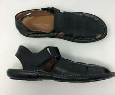 Bacco Bucci Fisherman Sandals Shoes Mens 9 Black Leather EUC A57-13