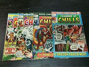 1972 MARVEL COMICS LOT OF 4 CHAMBER OF CHILLS #1 #3 #4 #7 MIXED-GRADE HORROR