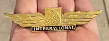"""Vintage CONTINENTAL AIRLINES INTERNATIONAL Gold Tone PILOT WINGS Pin Badge 3"""""""