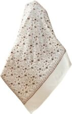 Large Hand Embroidered  in Tan & Brown on Ivory Wool Kashmir Shawl Sozni Style