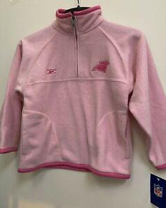 Carolina Panthers NFL Reebok Girls 1/4 Zip Pink Fleece Jacket Size Medium 10-12