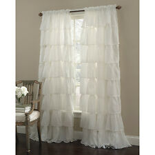 """Two (2) Gypsy Ruffled Sheer Curtain Panels, Cream, 60"""" wide by 63""""long"""