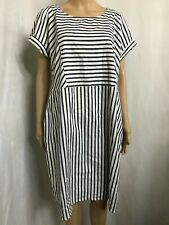KATIES SIZE 14 NAVY AND WHITE STRIPED COOL COTTON DRESS