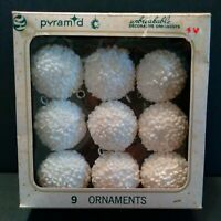 Vintage Pyramid Christmas Tree  Snowball Ornaments Box of 9 w/Hooks Gently Loved