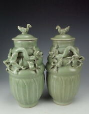 Pair of China Antique Longquan Ware Porcelain Lidded Vases