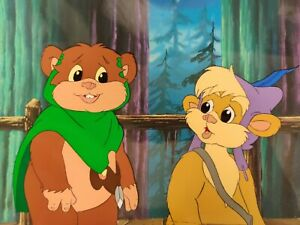 EWOKS Star Wars Animation Production Cel Wicket S2 hand-painted background art