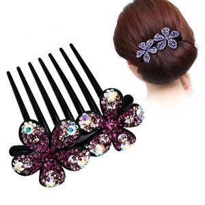 Women's Rhinestone Flower Hairpin Hair Clips Pins Comb Slide Barrettes Wedding