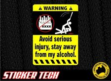 WARNING DONT TOUCH ALCOHOL STICKER DECAL SUITS BEER BAR FRIDGE ESKY PUB ICEBOX